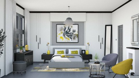 M_Gray and Yellow - Bedroom  - by milyca8