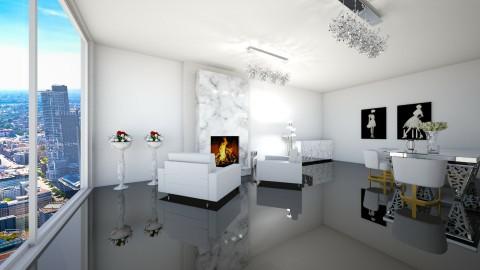 Total white room - Glamour - Living room  - by zosiawojcik