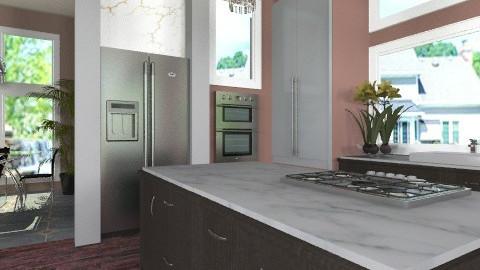 Marble and dark wood - Modern - Kitchen  - by Bibiche