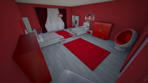 cute red bedroom - Bedroom - by RALU 1234