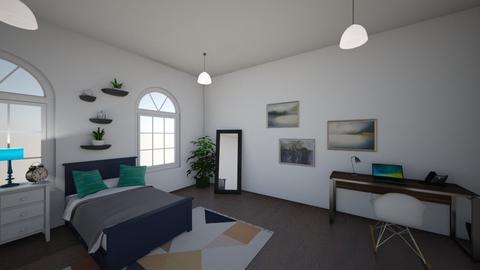 Teal mountains - Bedroom  - by lauren nielson
