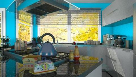 Granit and Glossy White - Modern - Kitchen  - by Bibiche
