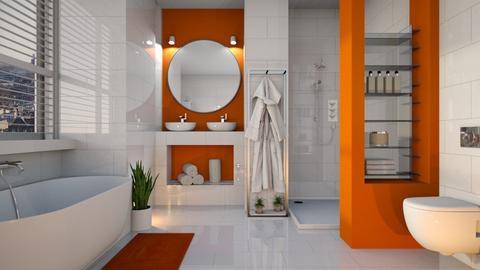 orange white bathroom - by Senia N