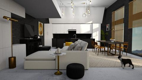 Black_White_Gold - Living room - by ZuzanaDesign