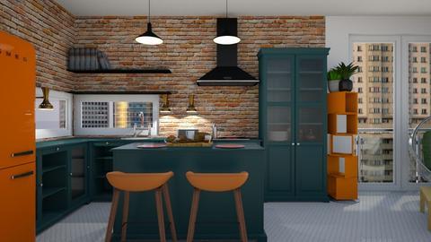 orange kitchen - Kitchen  - by ewcia3666