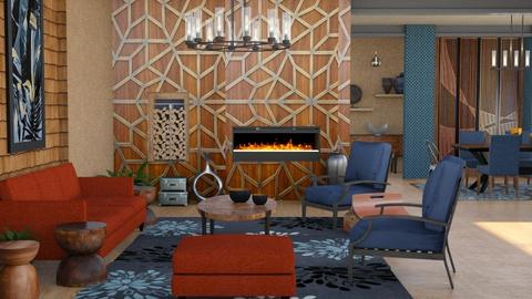 wood_clad wall living  - Living room  - by Moonpearl