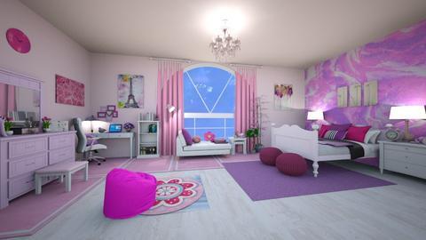 purple and pink cute room - Bedroom  - by Rackz