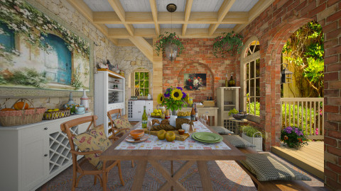Tuscany Afternoon - Dining room - by Violetta V