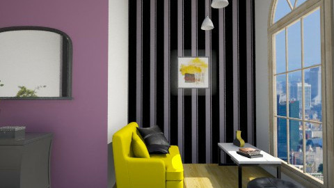 Black&Yellow - Living room - by Patryszka