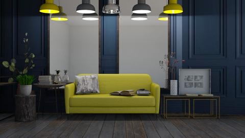 Mustard and Navy Remix - Living room  - by KittyKat28