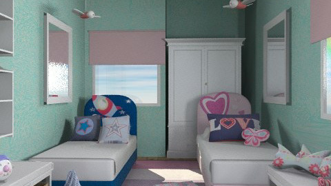 pink-blue kids - Country - Bedroom  - by chania