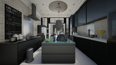 black kitchen with stone - Eclectic - Kitchen  - by Evangeline_The_Unicorn