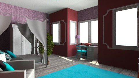 Burgundy purple and teal - Modern - Bedroom - by meredithb