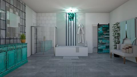 turquoise silver bathroom - by amwerner