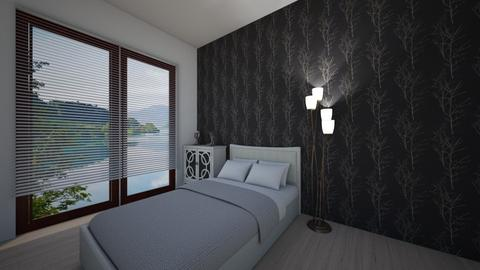 Black Wall - Minimal - Bedroom  - by Twerka