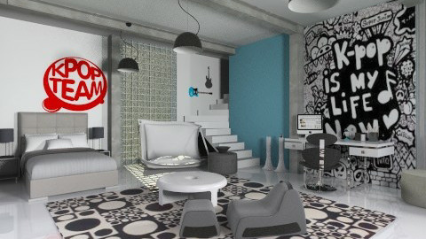 kpop for boyzzz - Modern - Bedroom  - by miadesign
