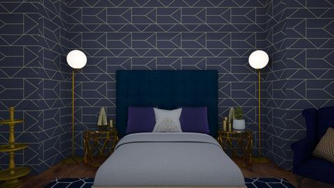 Navy and Gold Bedroom Remix - Glamour - Bedroom  - by KittyKat28