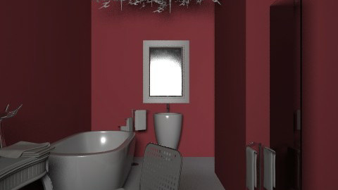 Red bathroom - Glamour - Bathroom  - by enik_marton