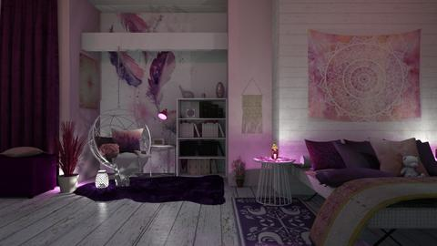 A pink and purple bedroom - Bedroom  - by ginamelia22