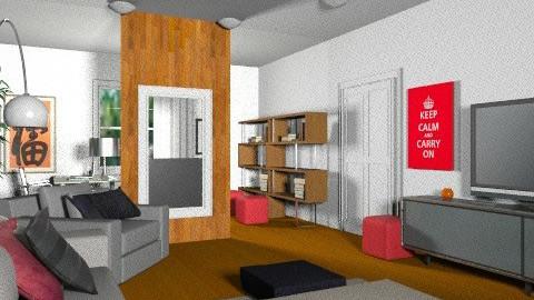 MF Vézina - Salon/Bureau rétro 5b - Retro - Living room  - by Yellow Moon Design