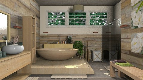 Wood bath - Country - Bathroom  - by KittiFarkas