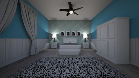 Blue white theme - Feminine - Bedroom  - by izzatijamian
