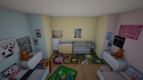 Twins and Baby Room - Rustic - Kids room  - by annatyler08
