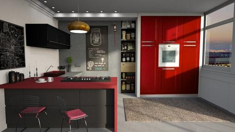 Red details - Kitchen - by Inna_Inas