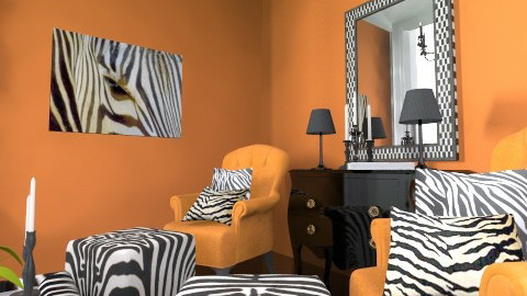 Orange livingroom - Classic - Living room  - by bisertanya