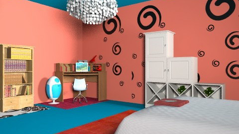 red and blue - Bedroom - by anniebannanie