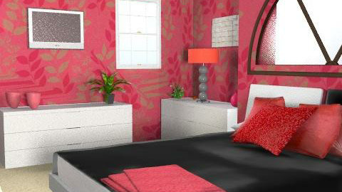 Red Room - Glamour - Bedroom - by Cathd0411