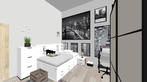 White room - Retro - Bedroom  - by milliediamond
