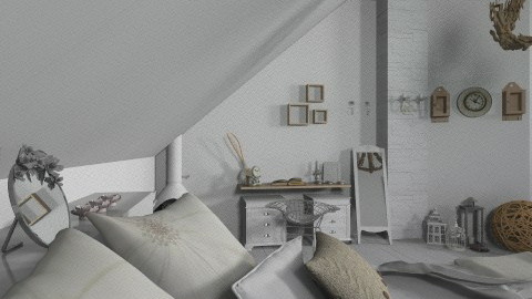 WhiteAtticRoom - Rustic - Bedroom  - by StienAerts
