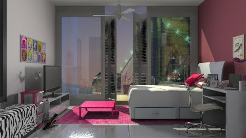Girl room .pink decor  - Glamour - Bedroom  - by sahfs