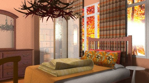 Peach n Orange - Rustic - Bedroom  - by natural11