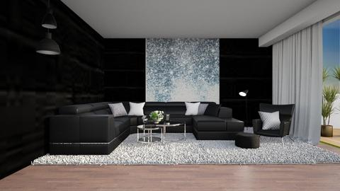 black living - Living room  - by nihalruttala