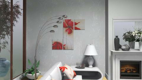 White and red_ - Minimal - Living room  - by milyca8