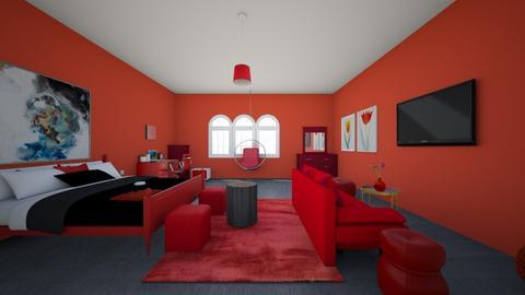 Red bedroom - Bedroom  - by Chayjerad
