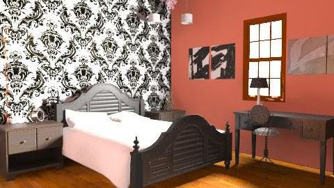 Salmon Pink/ Black 1 - Vintage - Bedroom  - by Dancer363