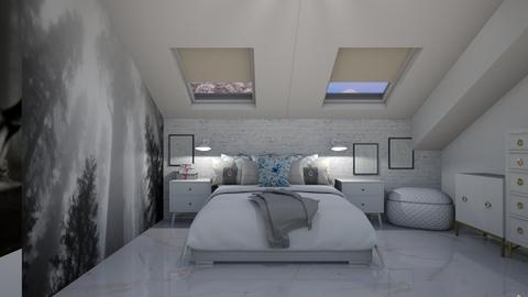 attic bedroom white - Bedroom  - by ewcia3666