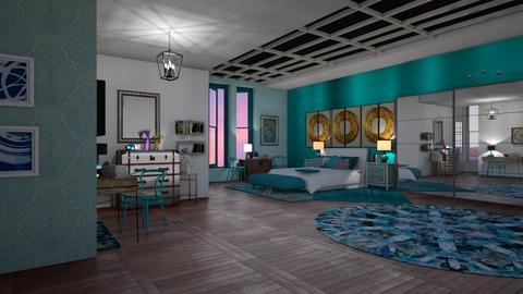 Turquoise and metal  - Bedroom - by pachecosilv