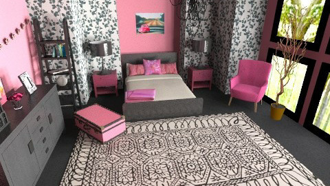 pink and black room - Classic - Bedroom  - by teen bedroom
