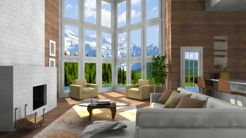 Lodge Living_CWIN - Rustic - Living room  - by TV Renders