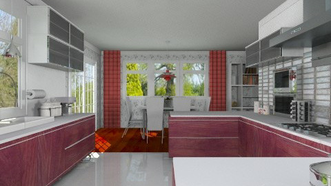 Red and White Kitchen - Modern - Kitchen  - by Bibiche