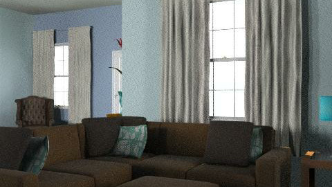 blue and brown - Retro - Living room  - by oscalora