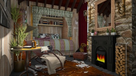 western cabin - Rustic - Bedroom  - by donella