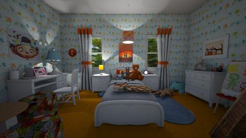 Orange and Blue Bedroom - Bedroom - by Mary__
