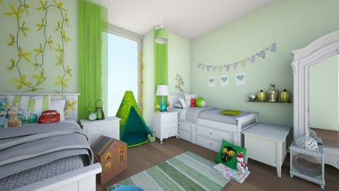 Green Twin Room - Classic - Kids room  - by Emily Bennett