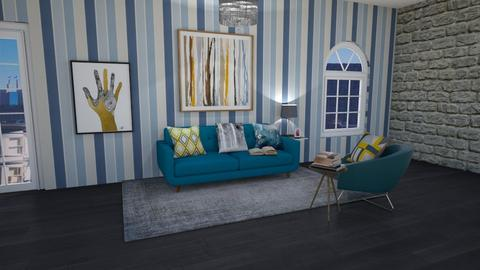 turquoise and medal room - Living room - by Lillyqwerty123