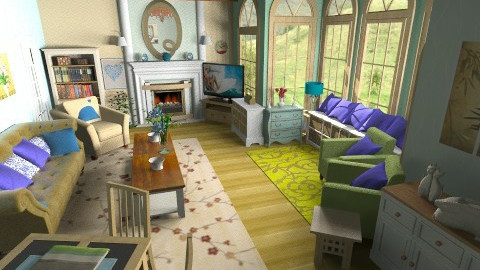Country Blue Green Cream2 - Country - Living room  - by Suzanne Hoskins